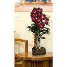 Large Vanda w/Root Base Silk Orchid Arrangement (Burgundy)