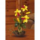 Mini Cattleya Silk Orchid Flower Arrangement (Gold Yellow)