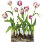 Tulips w/Rectangle Vase Silk Flower Arrangement - Raspberry