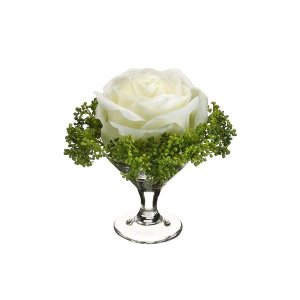 "4"" Rose/Skimmia In Glass Vase -  wedding centerpieces"