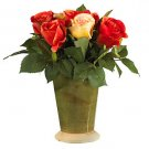 Roses w/Ceramic Vase Silk Flower Arrangement
