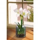 Amaryllis Silk Flower Arrangement w/Glass Vase (pink)