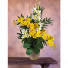 Double Phal/Dendrobium Silk Orchid Arrangement - Yellow Cream