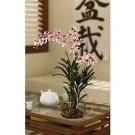 Vanda w/Root Base Silk Orchid Arrangement - pink