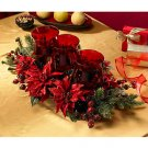 Poinsettia & Berry Triple Candelabrum
