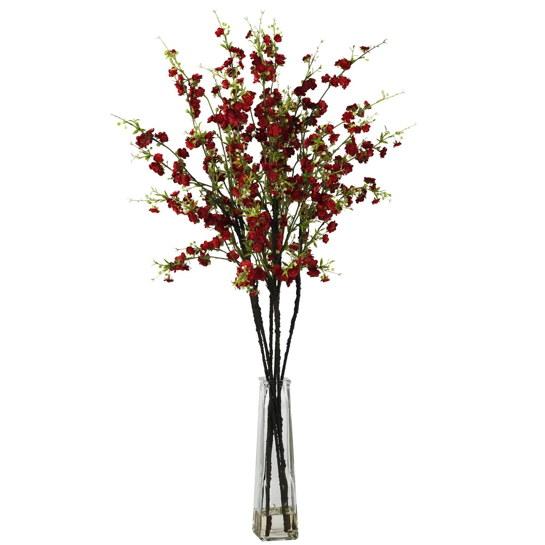 Cherry Blossoms w/Vase Silk Flower Arrangement - Red