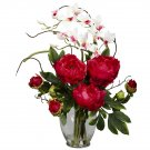 Peony & Orchid Silk Flower Arrangement - Red