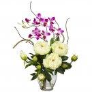 Peony & Orchid Silk Flower Arrangement - White