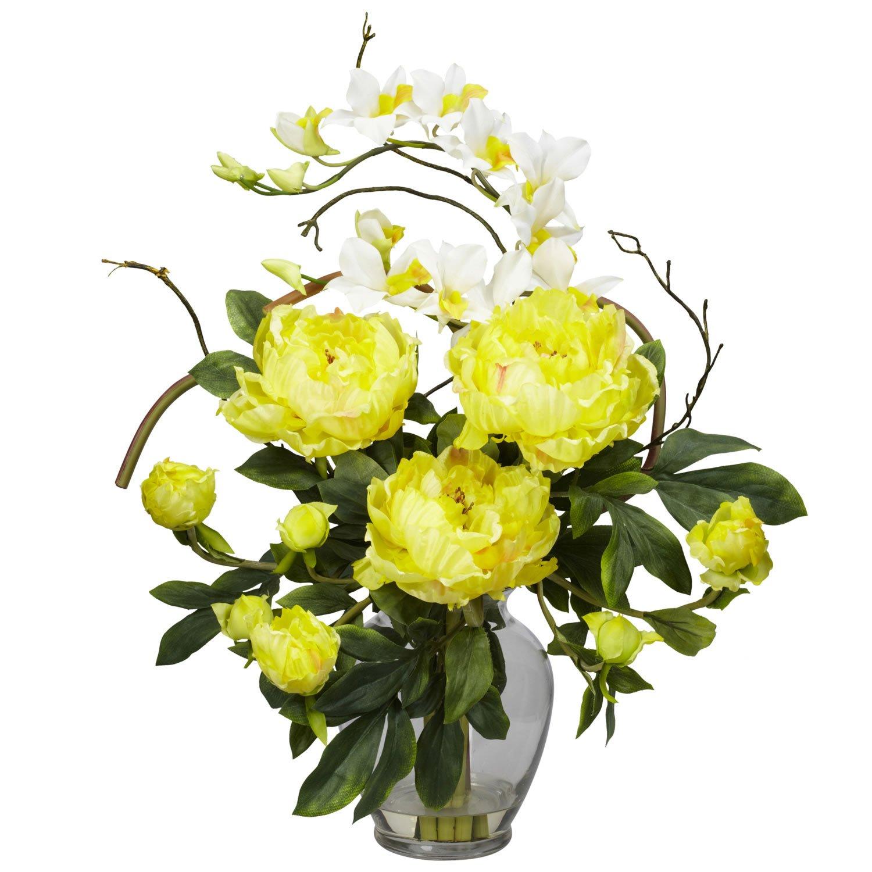 Peony & Orchid Silk Flower Arrangement - Yellow