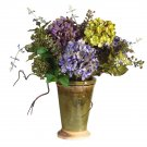Mixed Hydrangea w/Ceramic Vase Silk Flower Arrangement