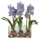 Hyacinth w/Rectangle Vase Silk Flower Arrangement - Blue