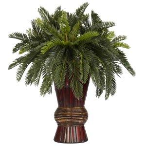 Cycas w/Bamboo Vase Silk Plant