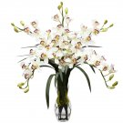Cymbidium Orchid Silk Flower Arrangement (White)