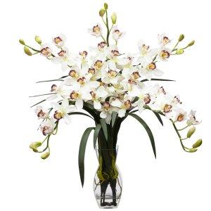 Cymbidium Orchid Silk Flower Arrangement (White)