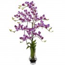 Dendrobium w/Curved Vase Silk Flower Arrangement (Purple)