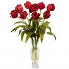 Tulips w/Vase Silk Flower Arrangement (Red)