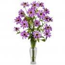 Cosmos w/Vase Silk Flower Arrangement (Purple)