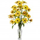 Cosmos w/Vase Silk Flower Arrangement (Yellow)