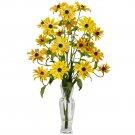 Cosmos w/Vase Silk Flower Arrangement (Yellow)