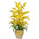 Triple Dancing Lady Silk Flower Arrangement (Yellow)