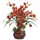 Cymbidium w/Decorative Vase Silk Arrangement - Burgundy