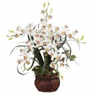 Cymbidium w/Decorative Vase Silk Arrangement - White