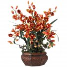 Large Cymbidium Silk Flower Arrangement - Burgundy