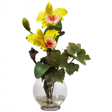 Mini Cattleya w/Fluted Vase Silk Flower Arrangement - Yellow