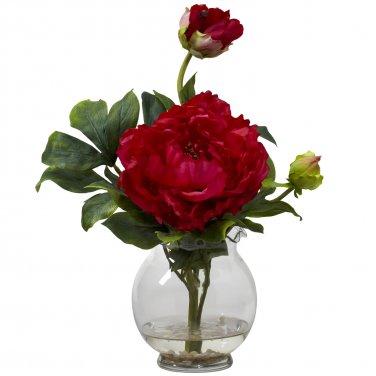 Peony w/Fluted Vase Silk Flower Arrangement - Red