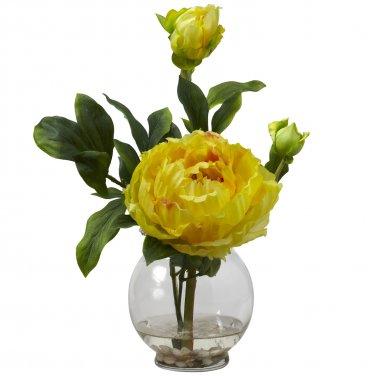 Peony w/Fluted Vase Silk Flower Arrangement - Yellow