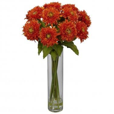 Sunflower w/Cylinder Silk Flower Arrangement - Orange