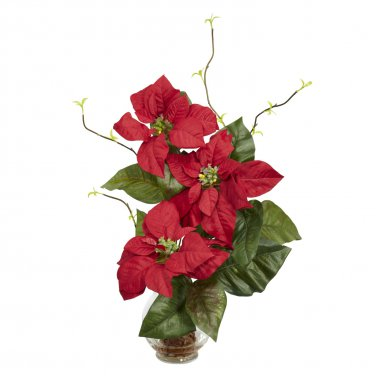 Poinsettia w/Fluted Vase Silk Flower Arrangement