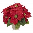 Poinsettia w/Ceramic Vase Silk Flower Arrangement - Item Number: 1268