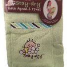 Green Stay Dry Bath Apron And Towel With Washmitt R22-GBA
