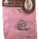 Pink Stay Dry Bath Apron And Towel With Washmitt R22-PBA