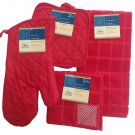 6 Piece Red Windowpane Theme Kitchen Linen Set RA5-RWP6