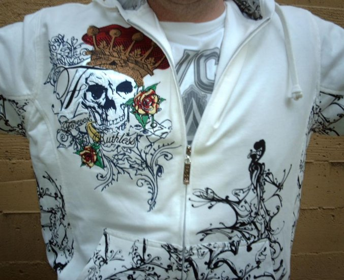 """White The Next Movement Hoodie """"Forever Ruthless"""" + Free Ed Hardy Poster"""