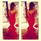 Red Mermaid Satin Prom Dress
