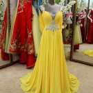 Yellow Crystal V Neck Prom Dress