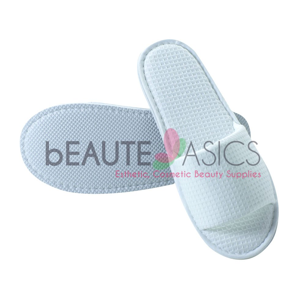 100 Pairs Waffle Slippers, White - AS159Wx100