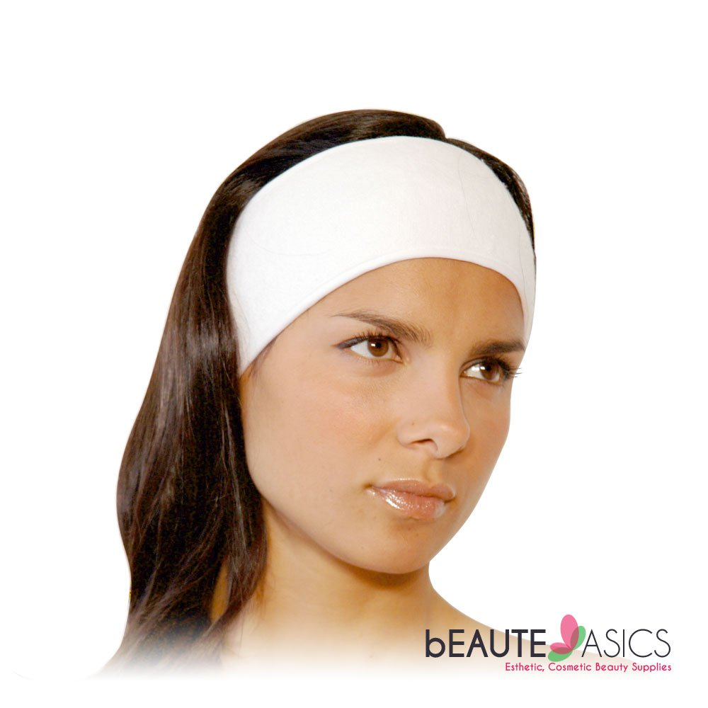 "Stretchable Terry Velcro Facial Headband Spa Salon, 3"" wide - ah1003x1"