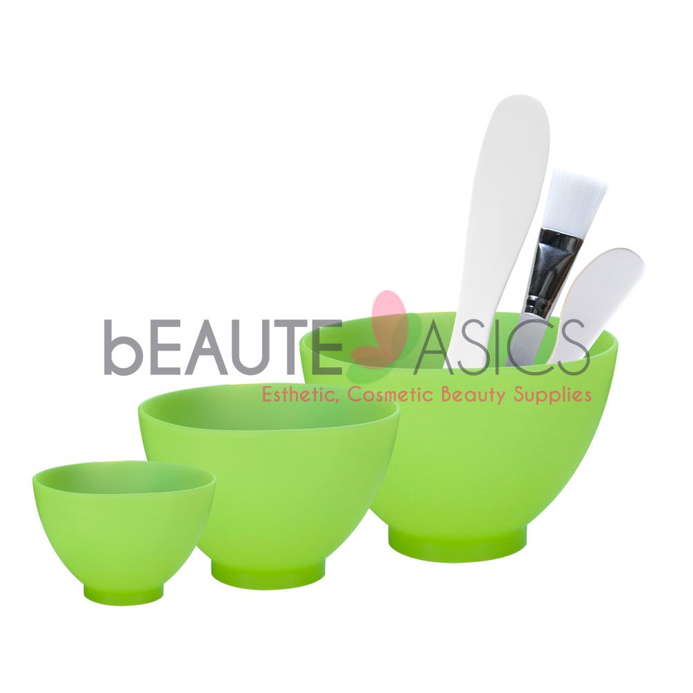 6-Pc Flexible Silicone Facial Mask Mixing Bowl set, Green - AB112Green-Set