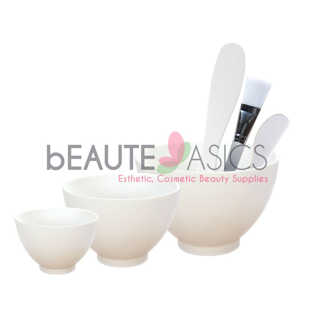 6-Pc Flexible Silicone Facial Mask Mixing Bowl set, White - AB112Wht-Set
