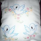Handcrafted hand embroidered decorative throw bed pillow 3 baby blue birds