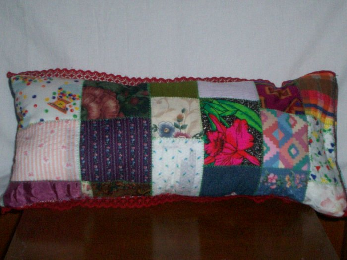 handcrafted decorative throw bed pillow Patchwork oblong pillow item number 3