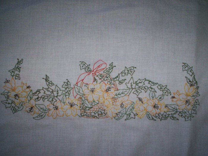dresser scarf basket of yellow and gold flowers table runner