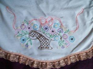 brown baskets of pastel flowers dresser scarf table runner