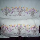 1 pillowcase with decorative pillow lavender and yellow daisy flowers