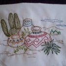 hand embroidered set of 2 pillowcases clay jars in the desert handcrafted