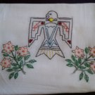 embroidered dish towel tea towel thunderbird with peach flowers cotton fabric